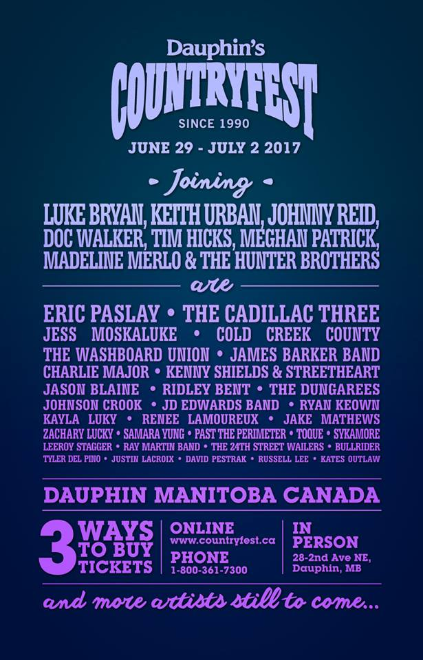 Dauphin's Countryfest announces the next round of artists